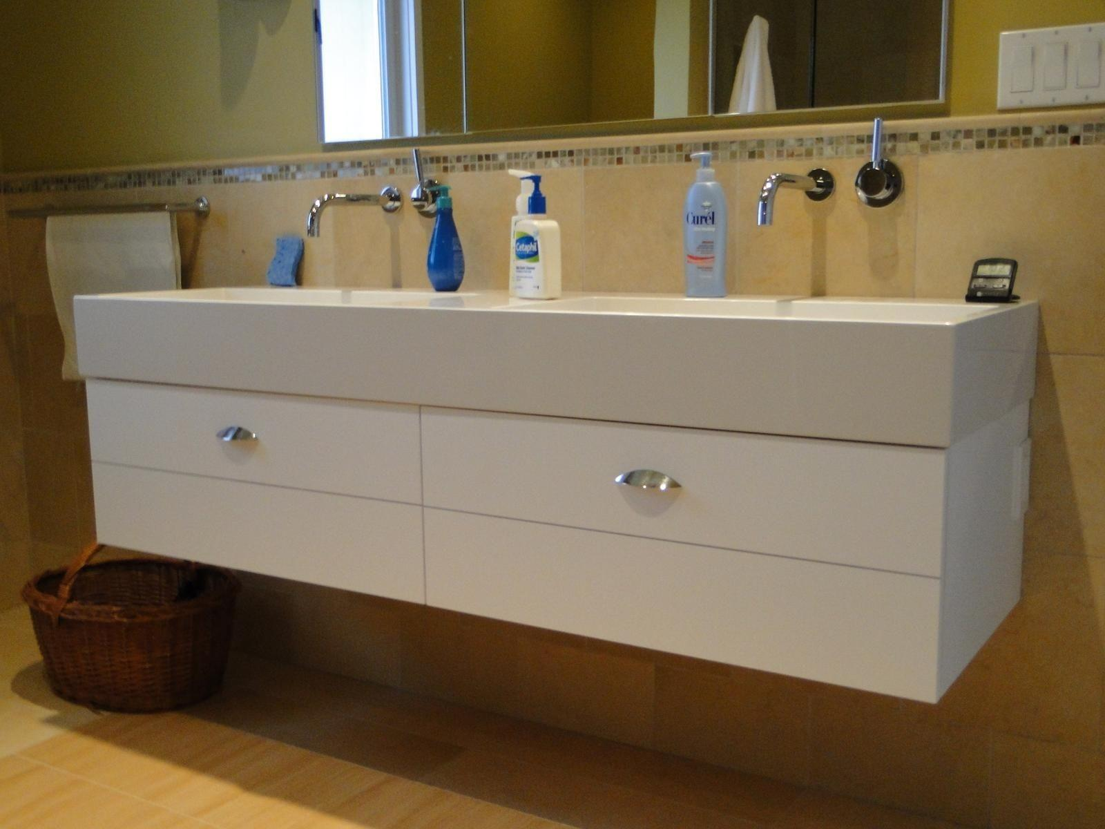 Bathroom Floating Trough Sink Two Faucets