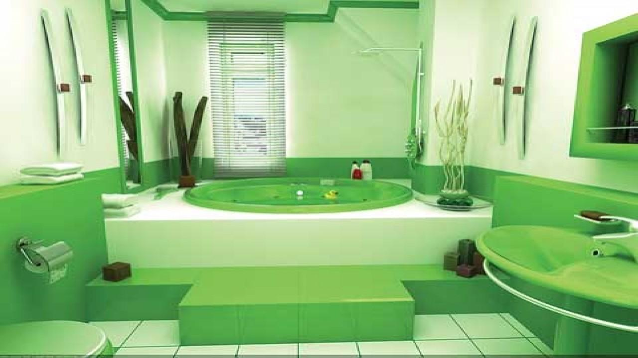 Bathroom Small Ideas Green Color Design