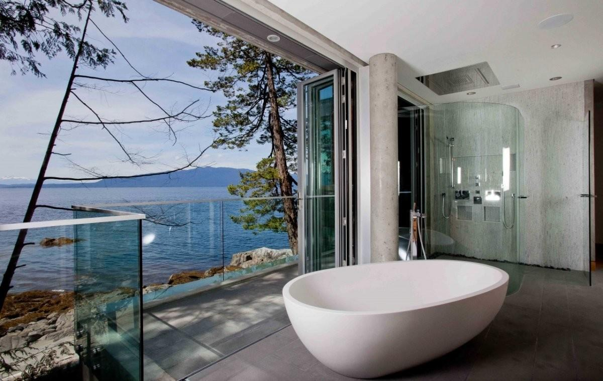 Bathroom Views Glass Wall Pender Harbour House