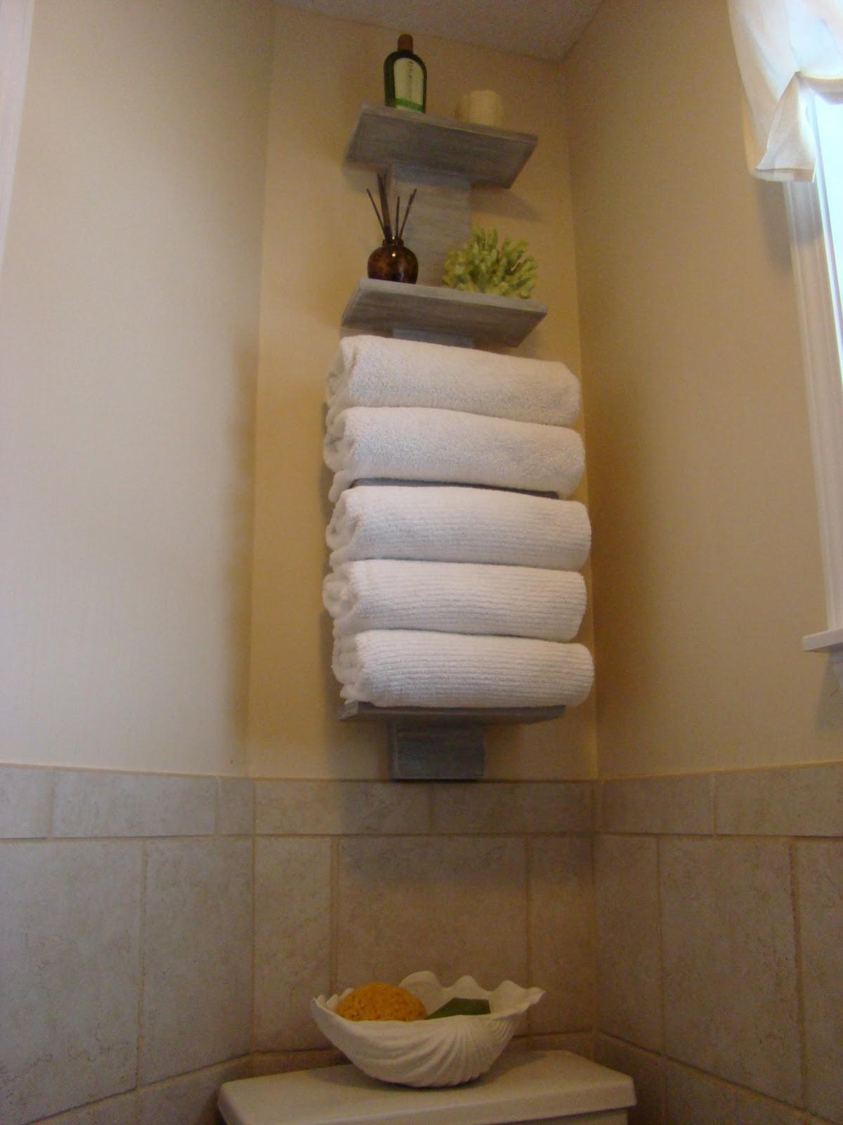 Bathroom Wall Mounted Rustic Wood Towel Storage Hanging