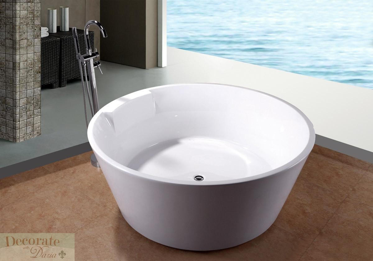 Bathtub Soaking Round Japanese Style Floor Faucet