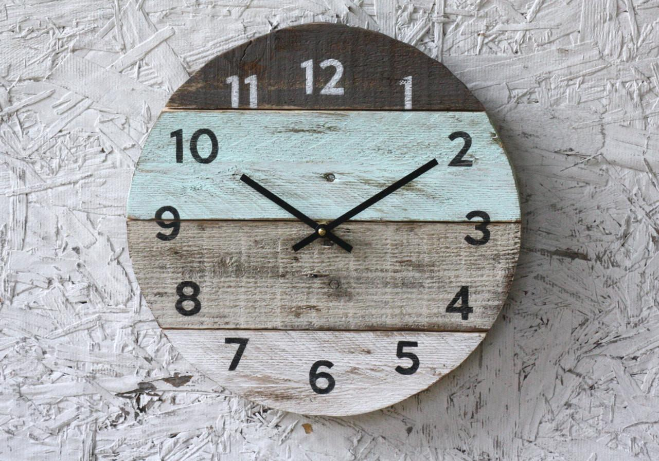 Beach Clock Round Reclaimed Wood Wall Pale Seafoam