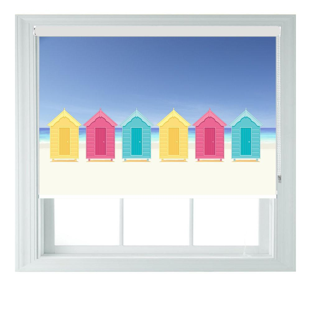 Beach Huts Themed Blackout Roller Blind Kitchen