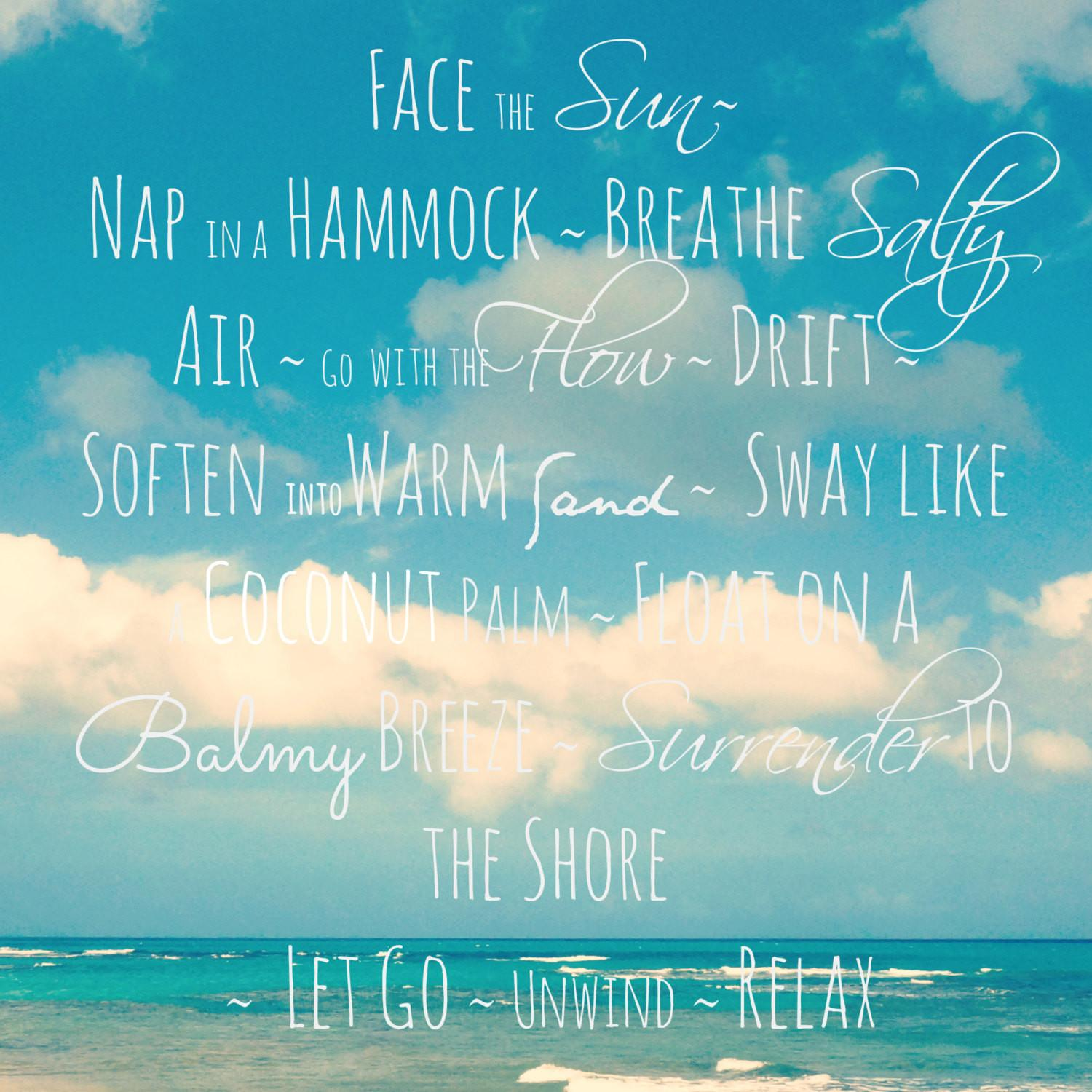Beach Quote Photography Modern Blue Seascape Decor Large