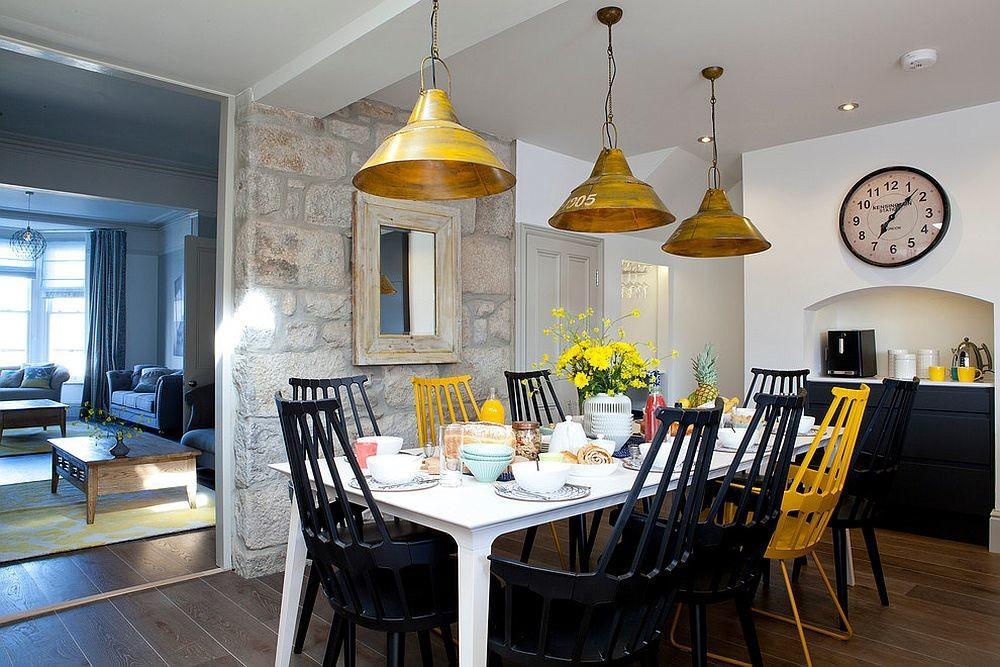 Beach Style Dining Room Accent Stone Wall