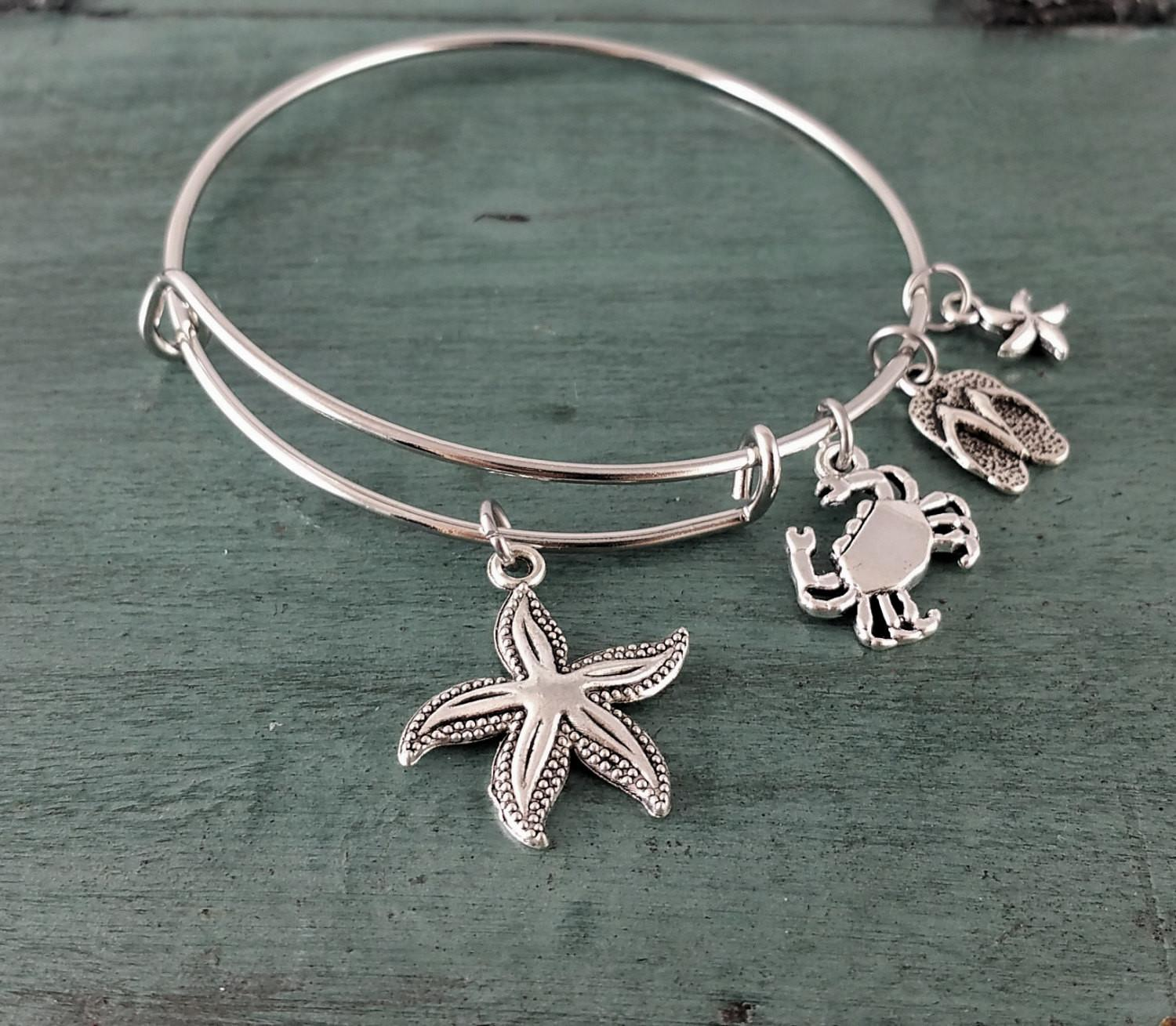 Beach Themed Nautical Starfish Crab Bangle Charm Bracelet