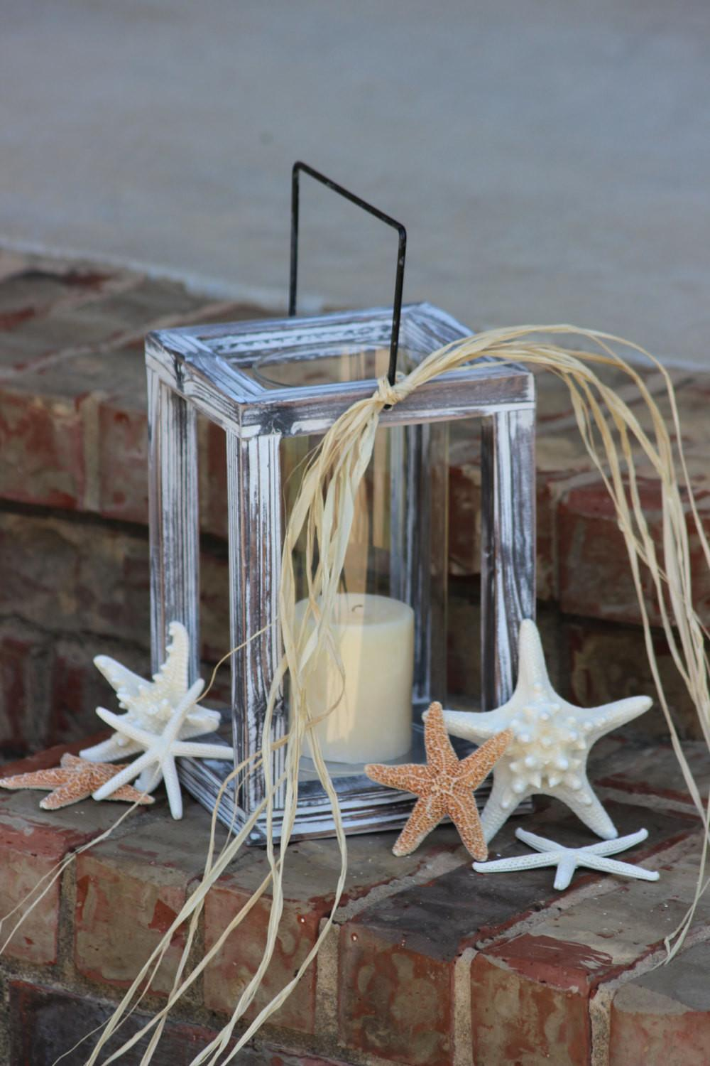 Beach Themed Wood Candle Lantern Glass