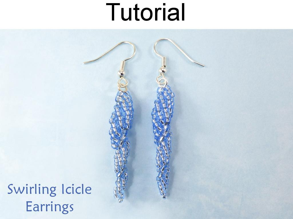 Beaded Icicle Earrings Using Spiral Stitch Seed Beads