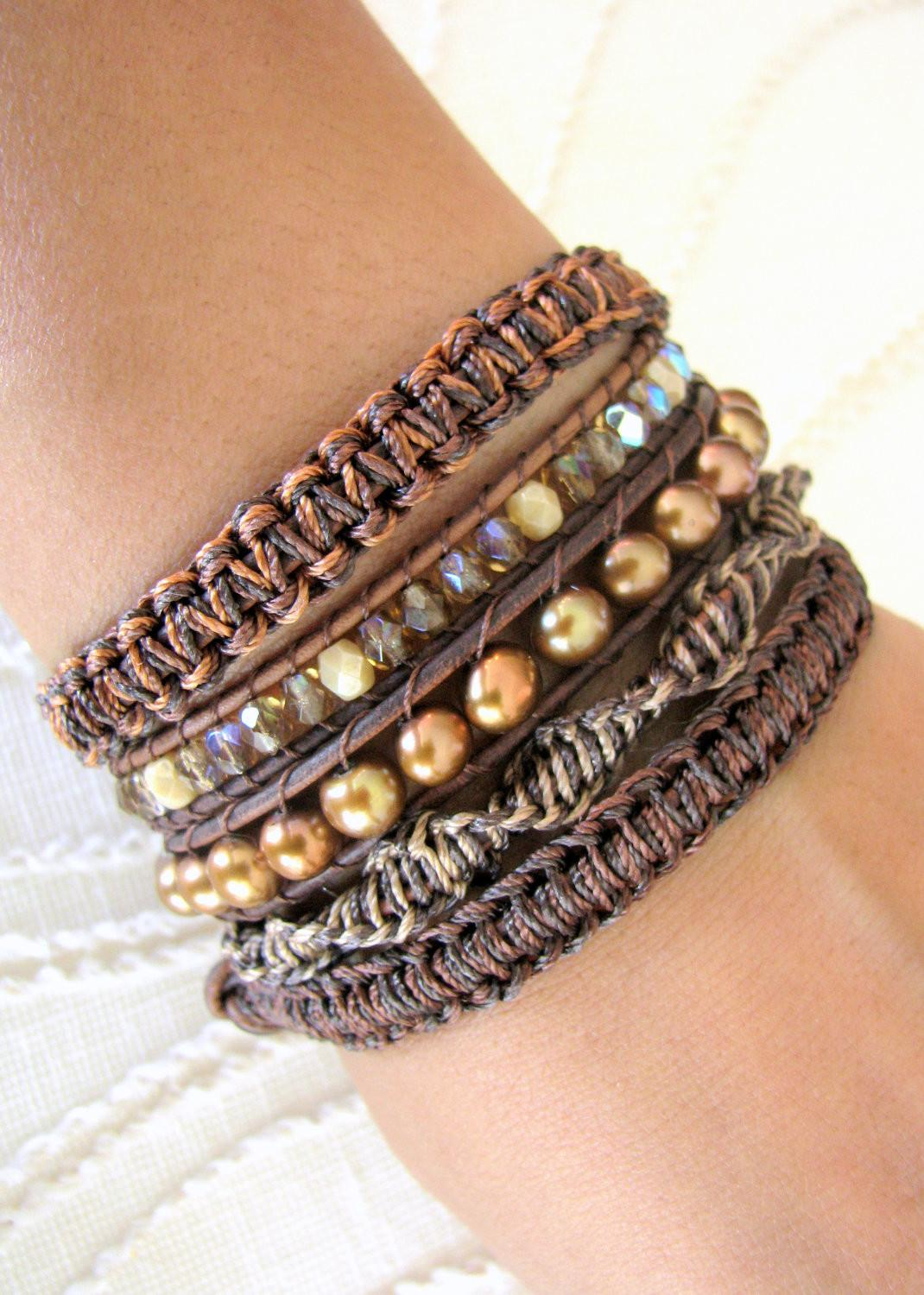 Beaded Leather Wrap Bracelet Freshwater Pearls Gold