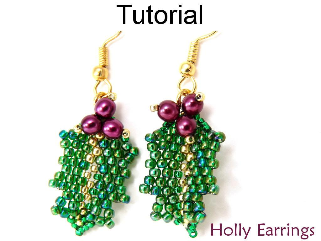 Beading Tutorial Pattern Earrings Christmas Holiday Jewelry