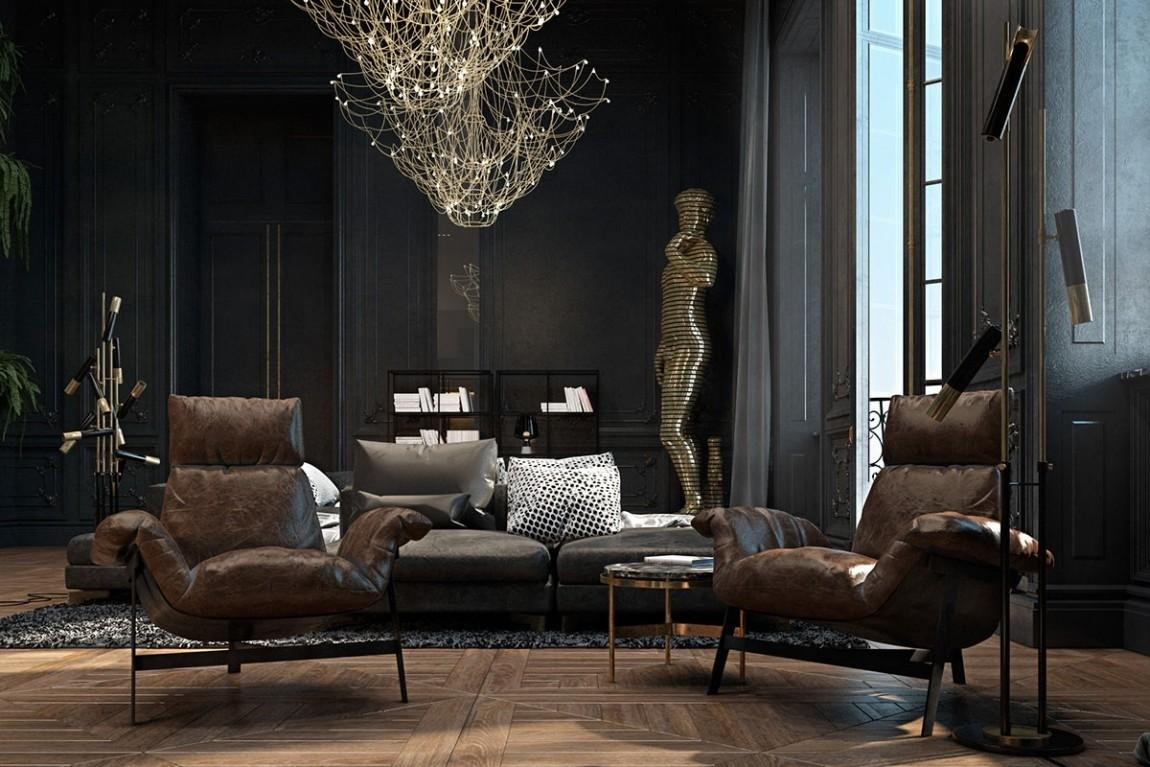 Beautiful Black Interior Showcased Historic Paris