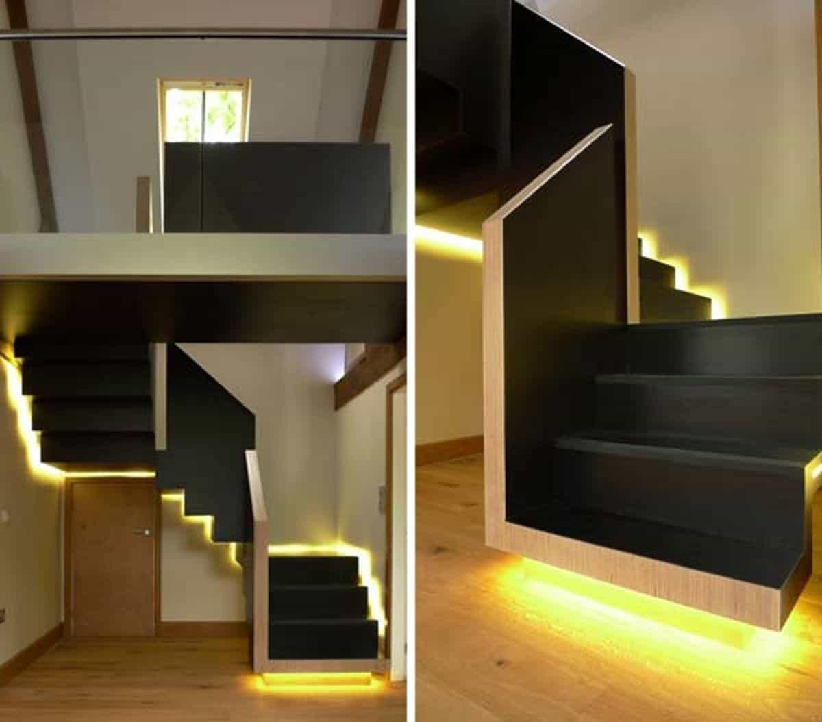Beautiful Black Staircase Led Light Unique Look