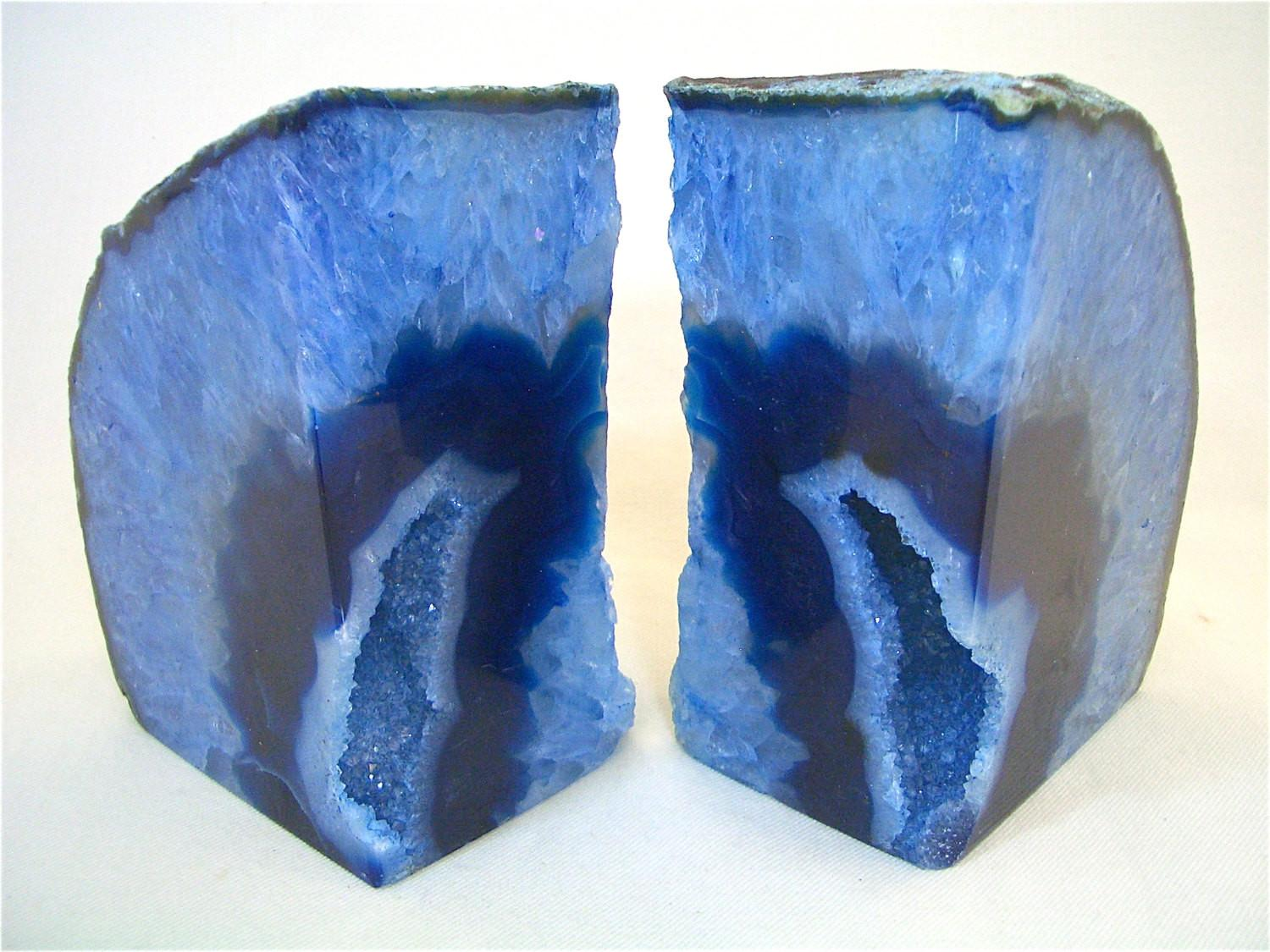 Beautiful Blue Agate Geode Bookends Book Ends