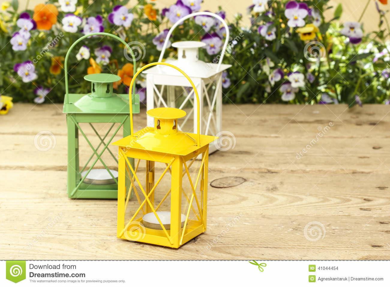 Beautiful Colorful Lanterns Wooden Table Stock