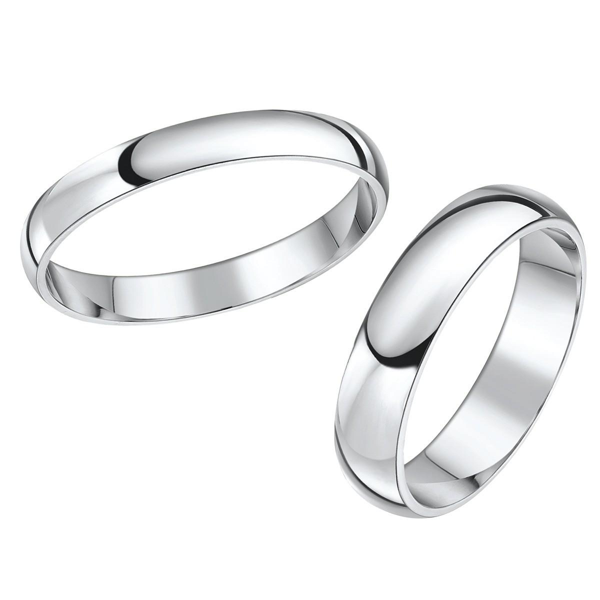 Beautiful His Hers Platinum Wedding Rings Photograph