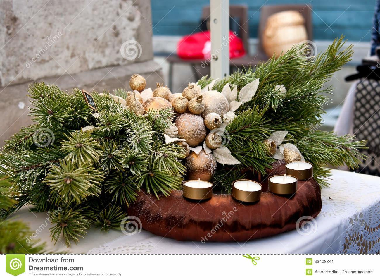 Beautiful Homemade Advent Wreath Stock