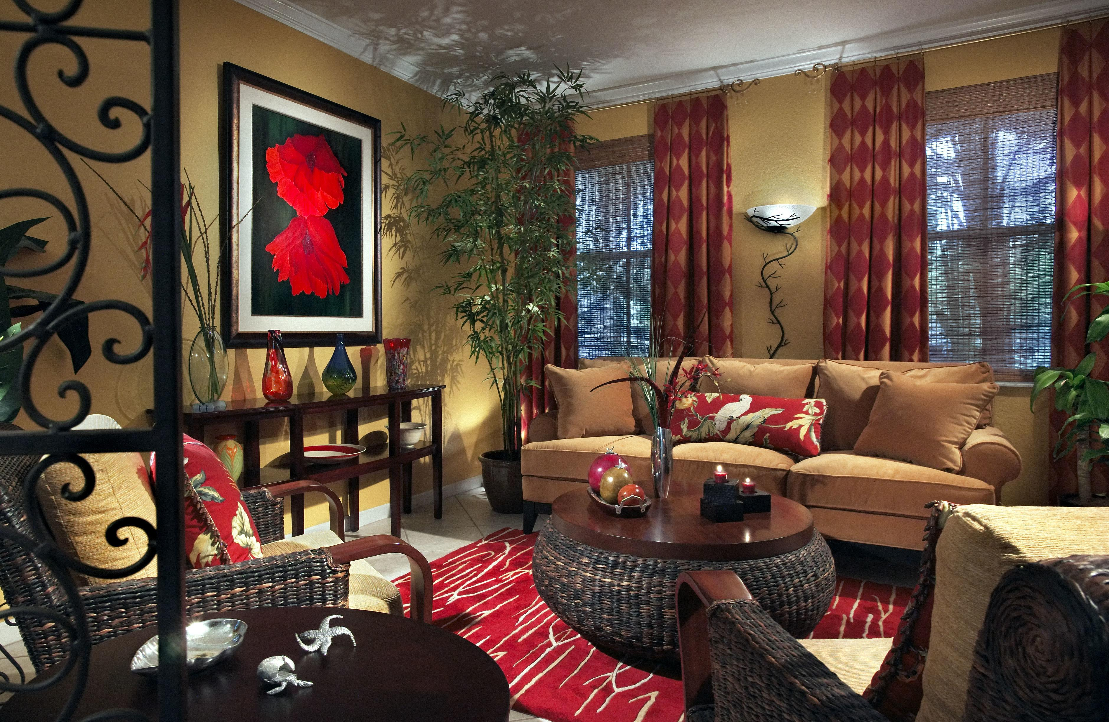 Beautiful Living Room Den Decorating Ideas Added Red