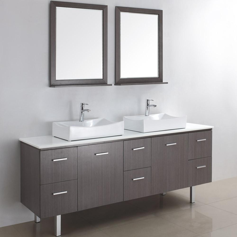 Beautiful Modern Bathroom Vanity Two Square Mirror