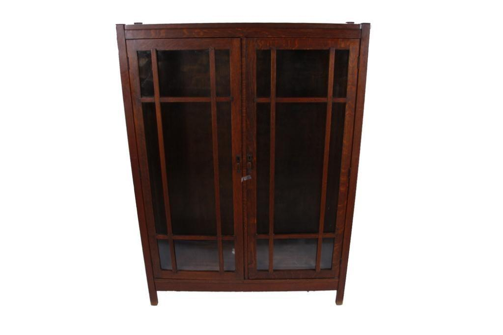 Beautiful Oak Mission Style Bookcase Attributed