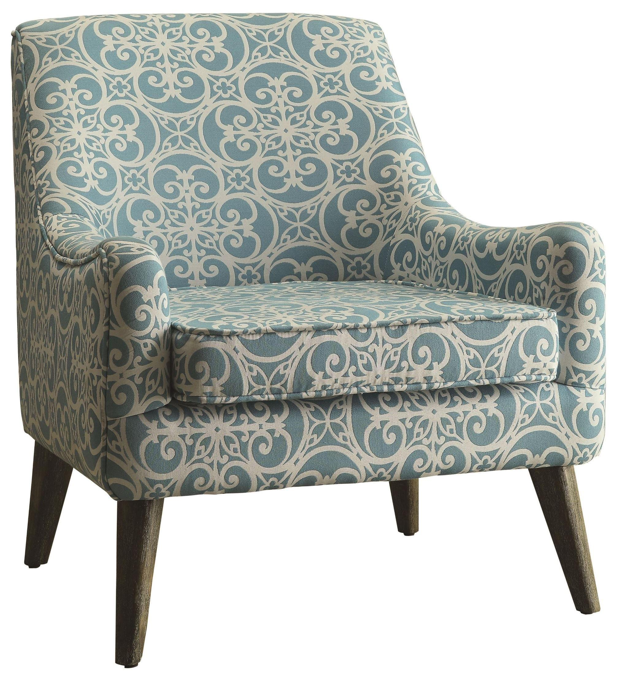 Beautiful Pattern Fabric Light Blue White Accent Chair