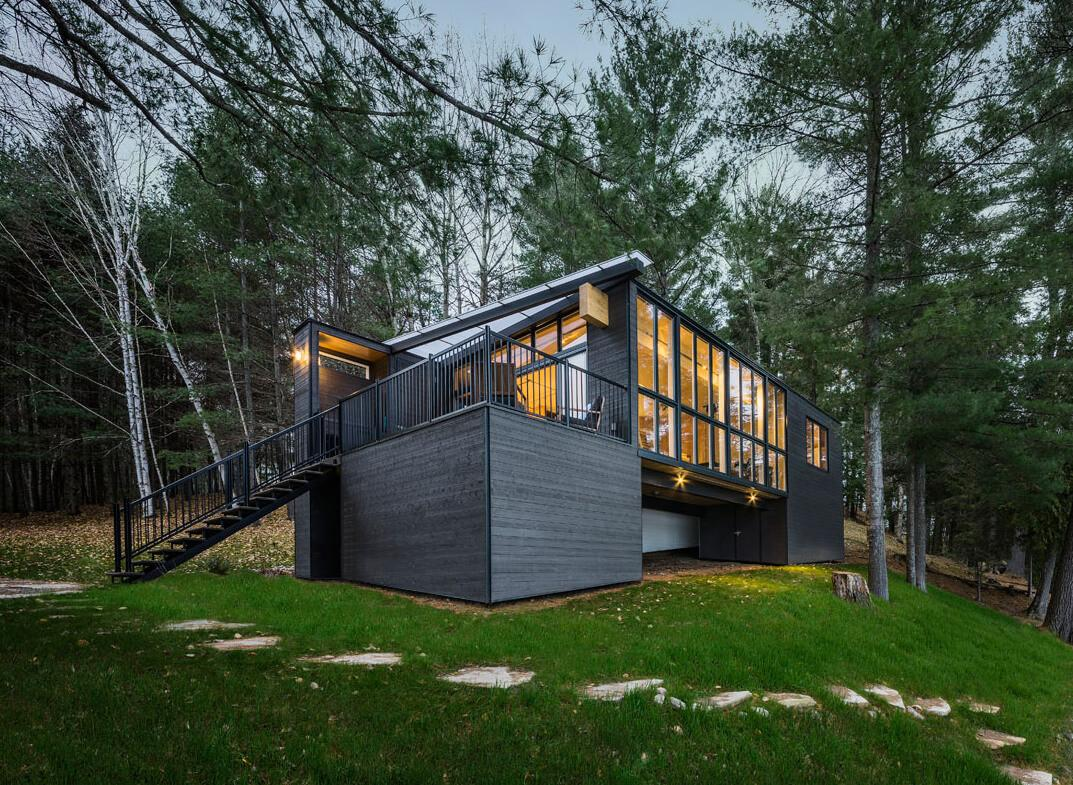 Beautiful Prefab Cabin Quebec Made Out Wood Panels