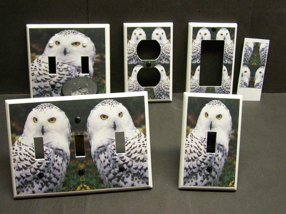 Beautiful Snow Owl Home Decor Light Switch Cover Plate