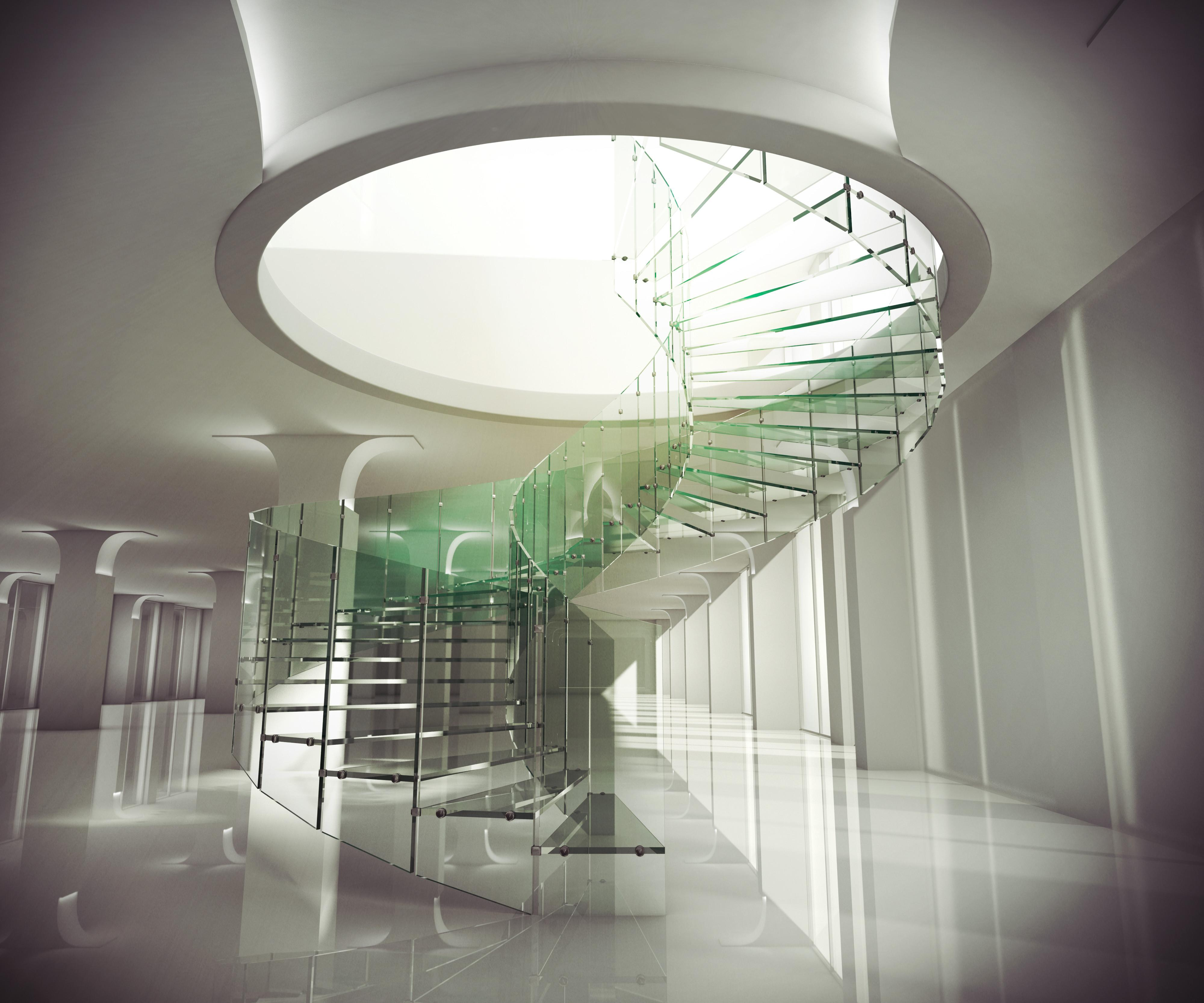 Beautiful Spiral Shaped Glass Staircase Round Tops