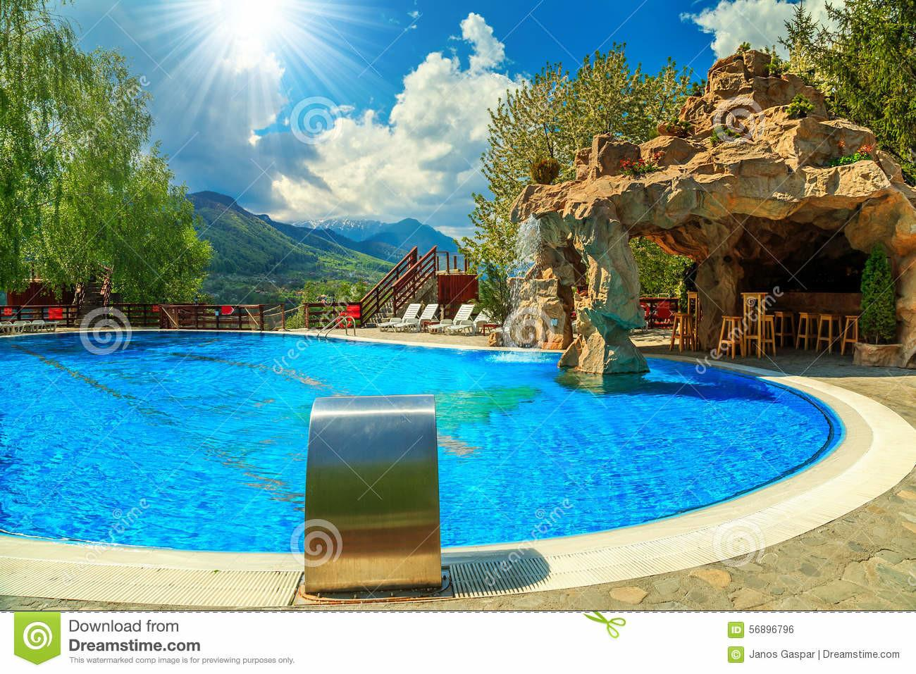 Beautiful Swimming Pool Beach Bar Waterfall Stock
