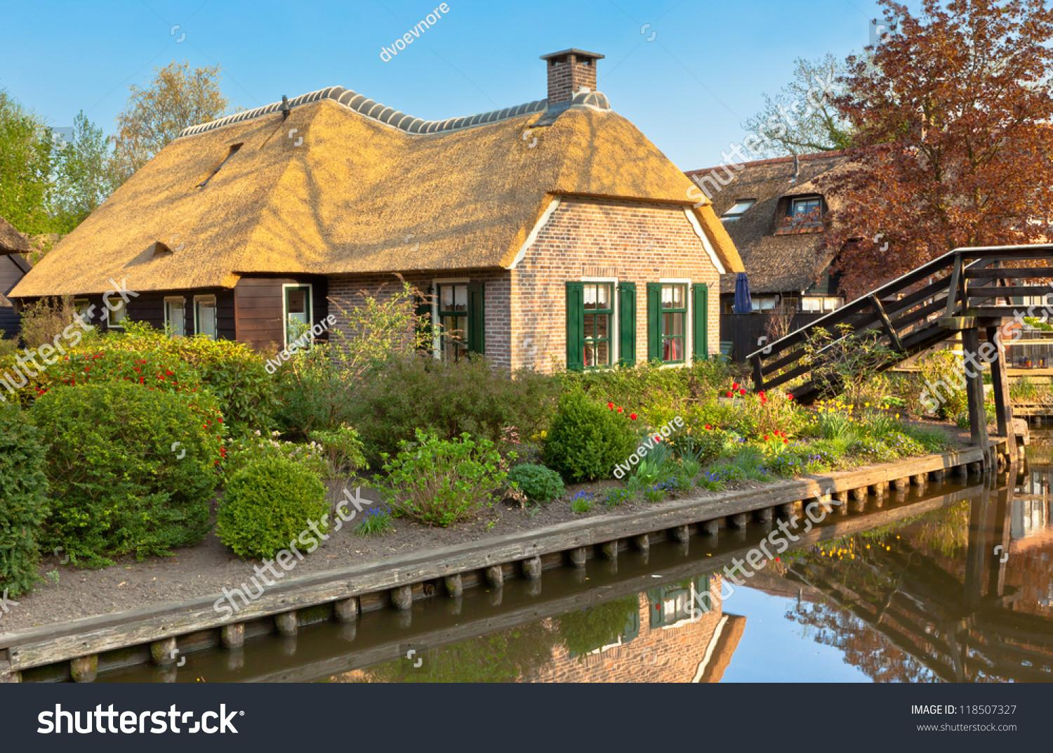 Beautiful Traditional Dutch House Thatched Roof