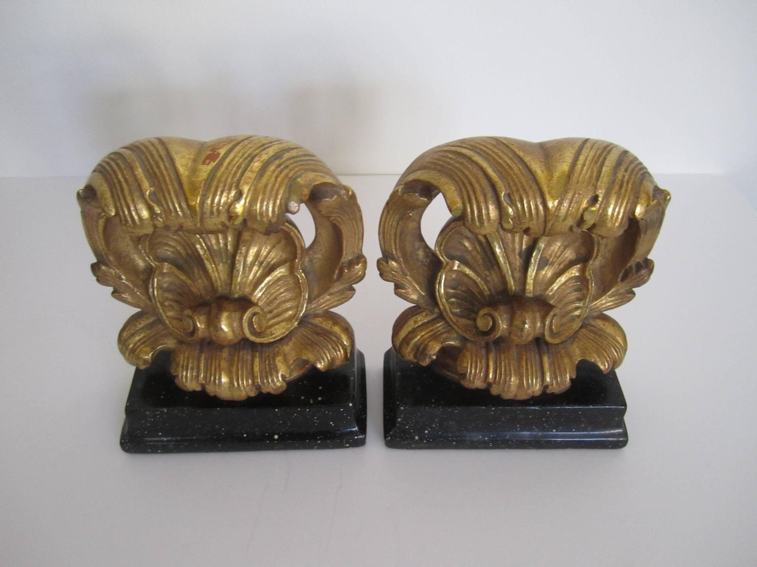 Beautiful Vintage Decorative Bookends Black Bases