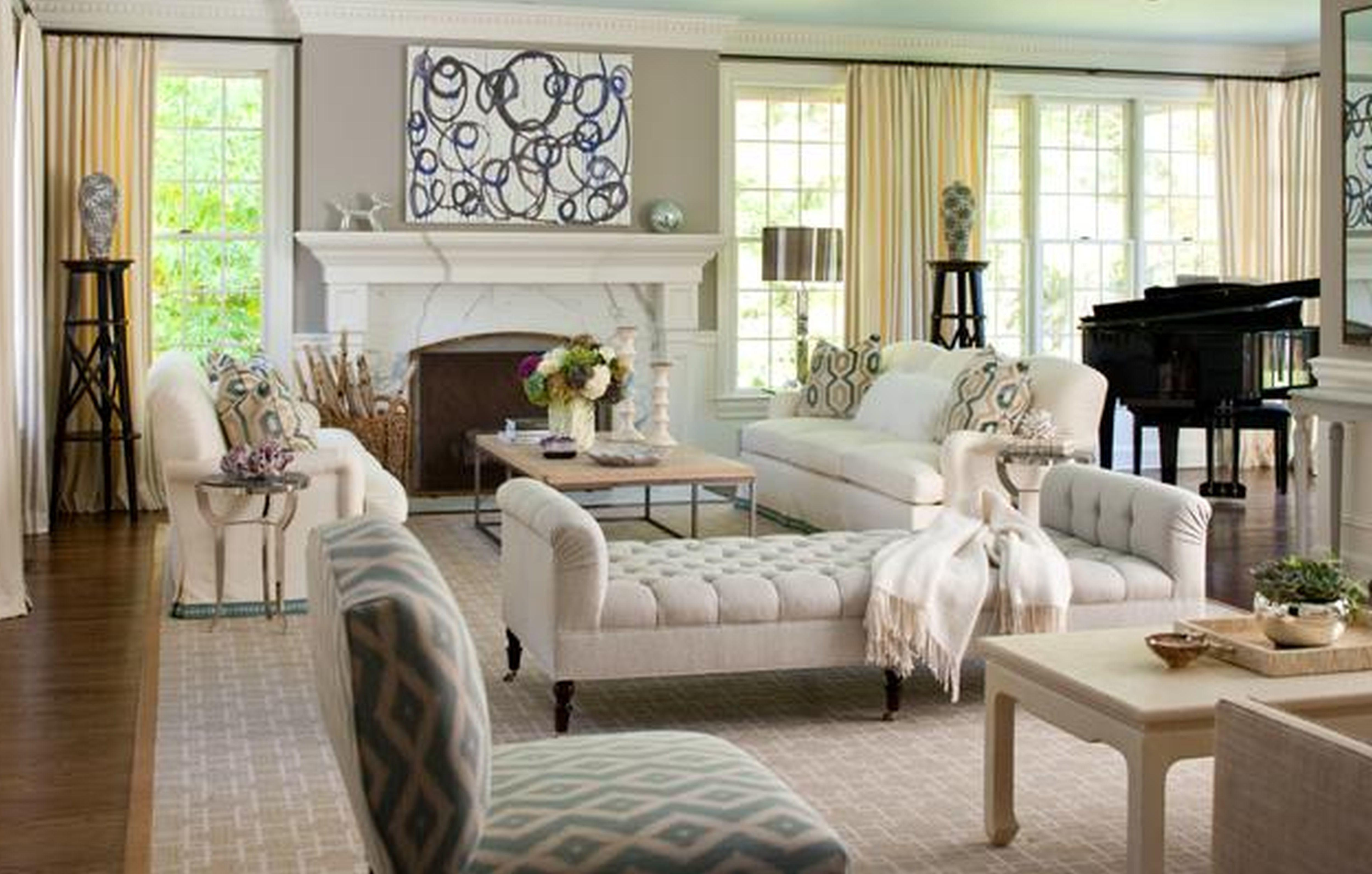 Beautiful White Tufted Chaise Lounge Also Fireplace