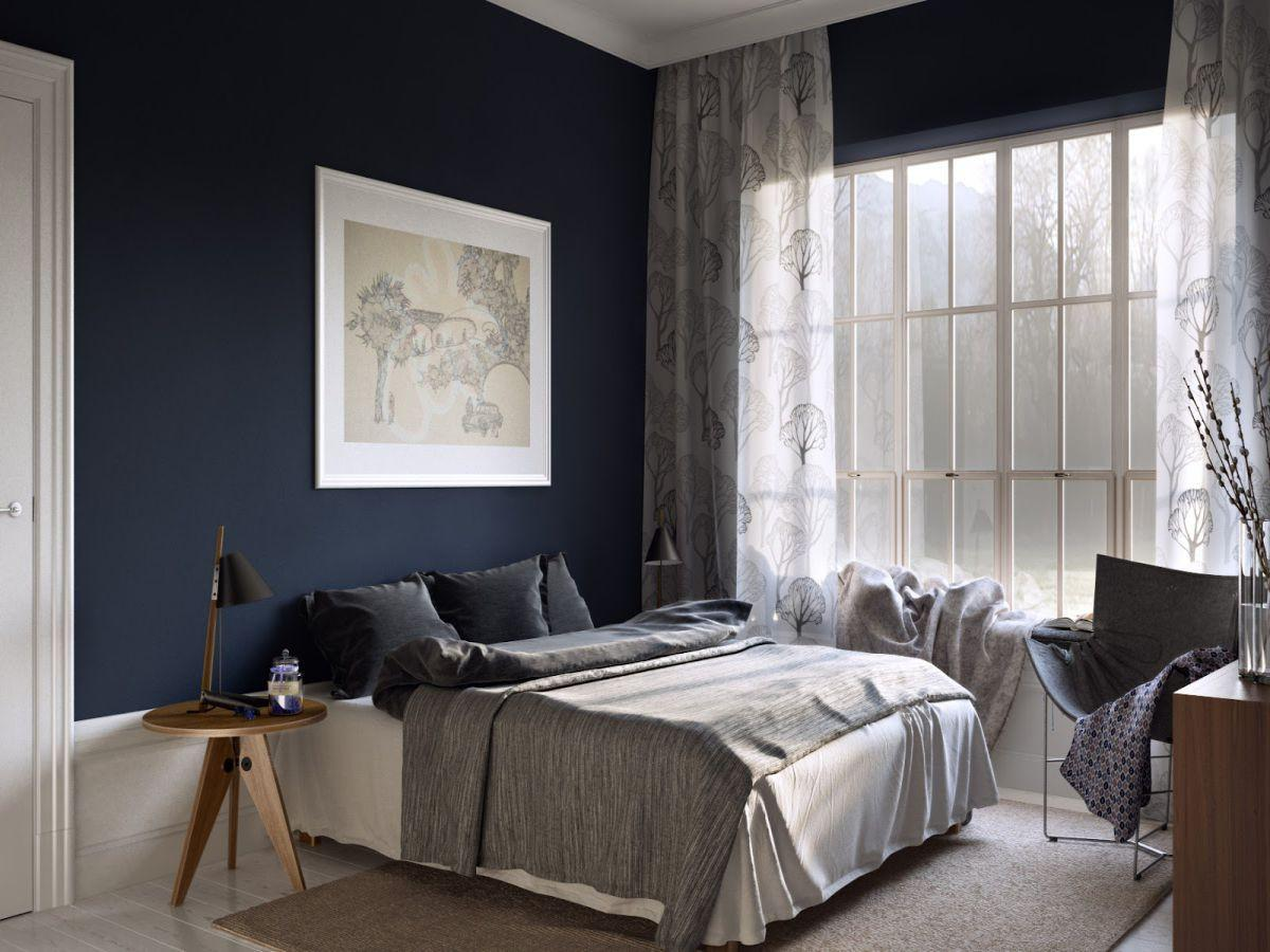 Bed Room Paint Dark Blue Colors Home Combo