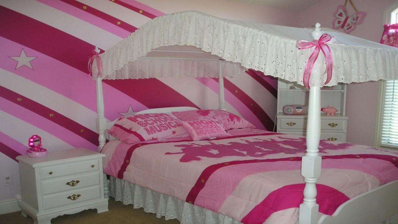 Bedroom Design Cheerful Pink Stripe Accent Wall