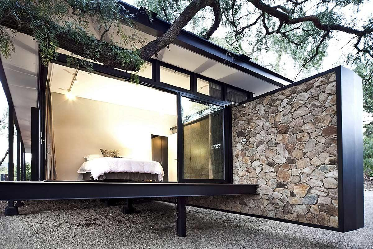 Bedroom Glass Walls Compact Contemporary Home
