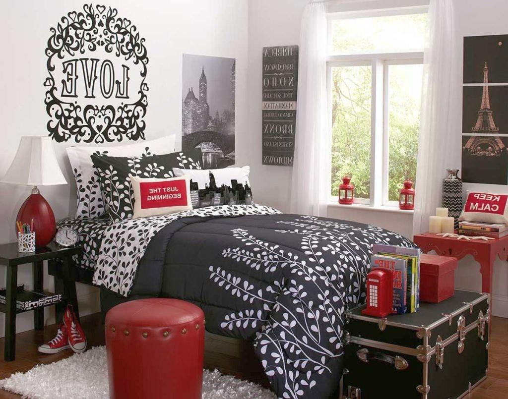 Bedroom Ideas Red Black White Gray Fur Rug Minimalist