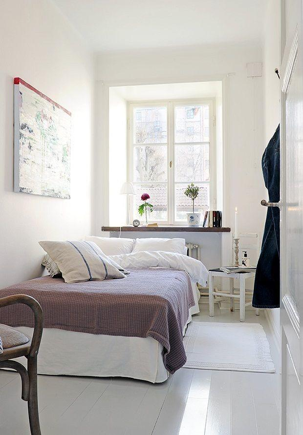 Bedroom Narrow Design Couple White Interior Ideas