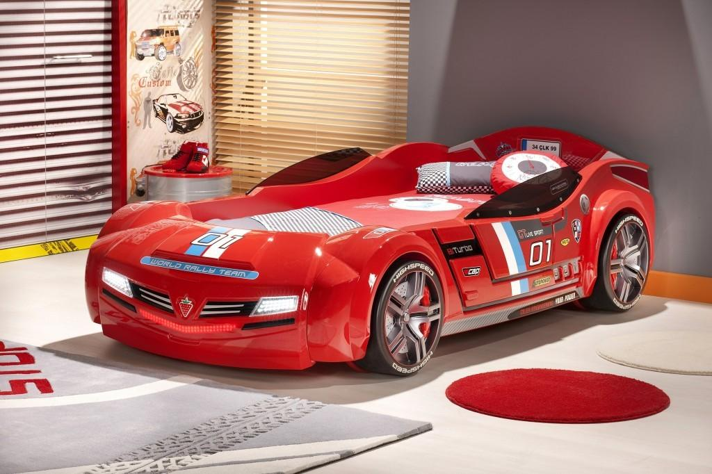 Bedroom Red Race Car Cool Shaped Beds Kids