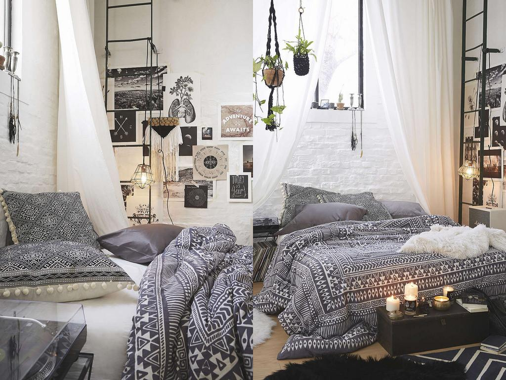 Bedroom Urban Outfitters Bedding Black White Patio