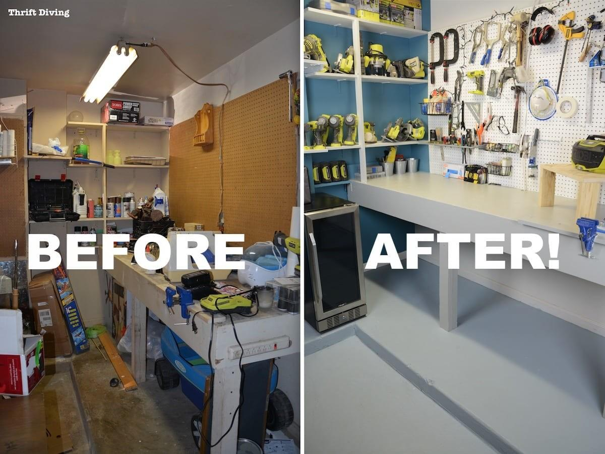 Before After Garage Workbench Makeover Using Beyond Paint