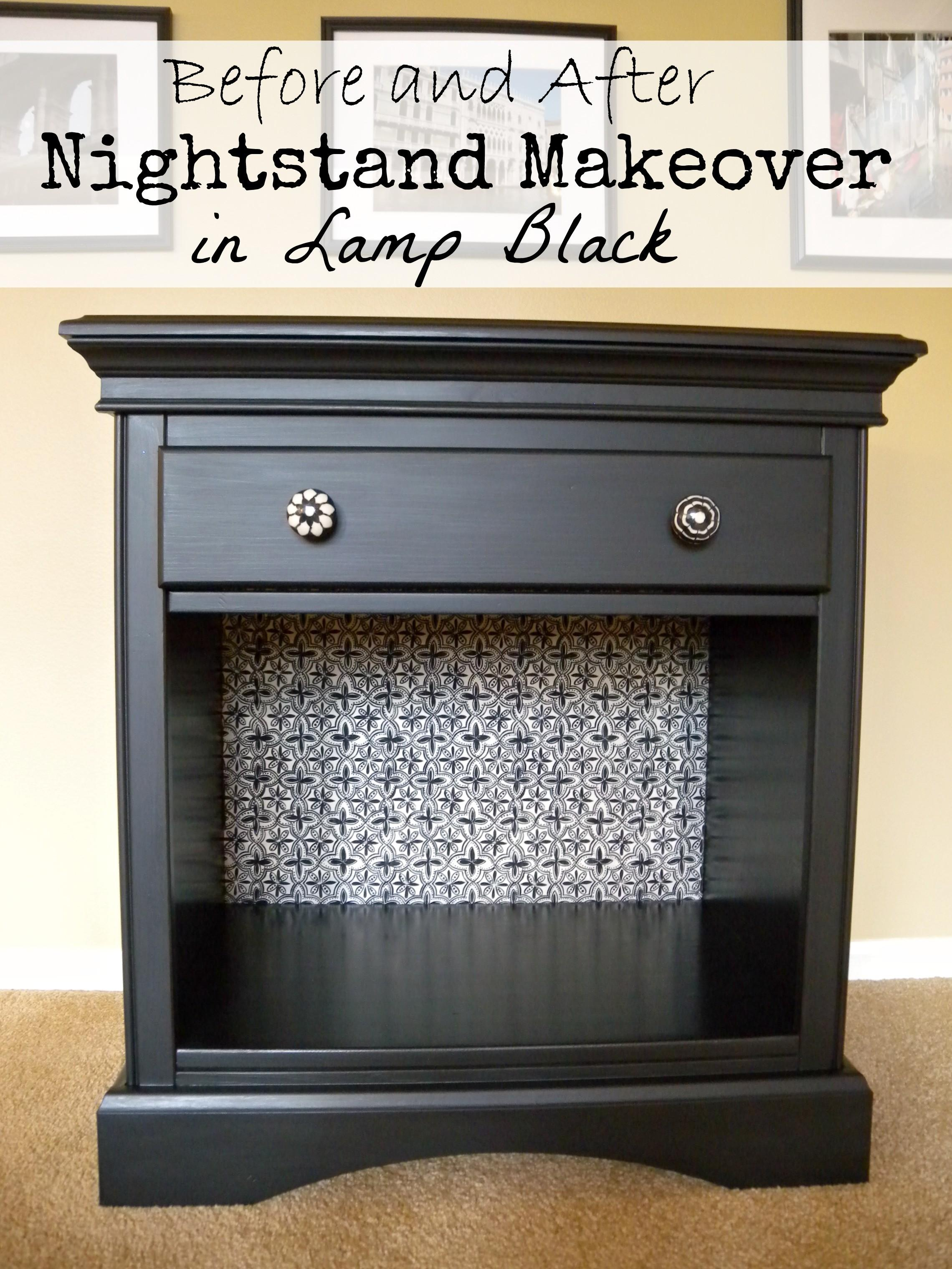 Before After Nightstand Makeover Lamp Black