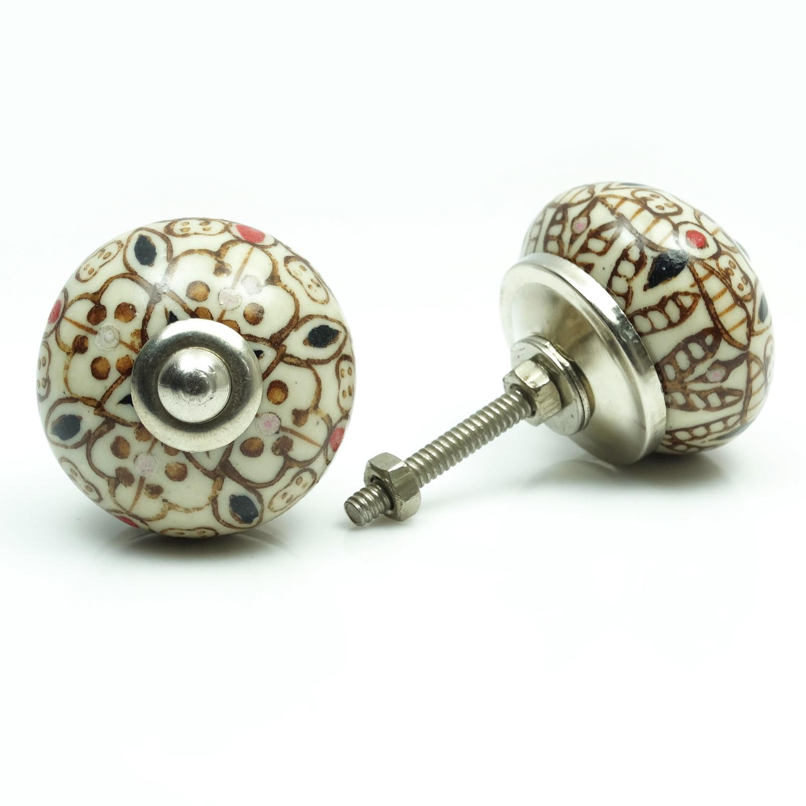 Beige Hand Painted Ceramic Drawer Pull Round Shape Unique