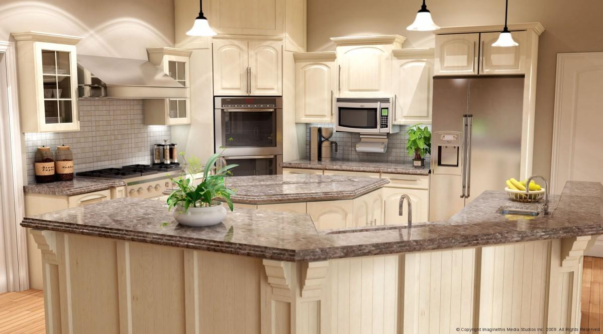 Beige Kitchen Decorating Idea Feat Trendy Curved Breakfast