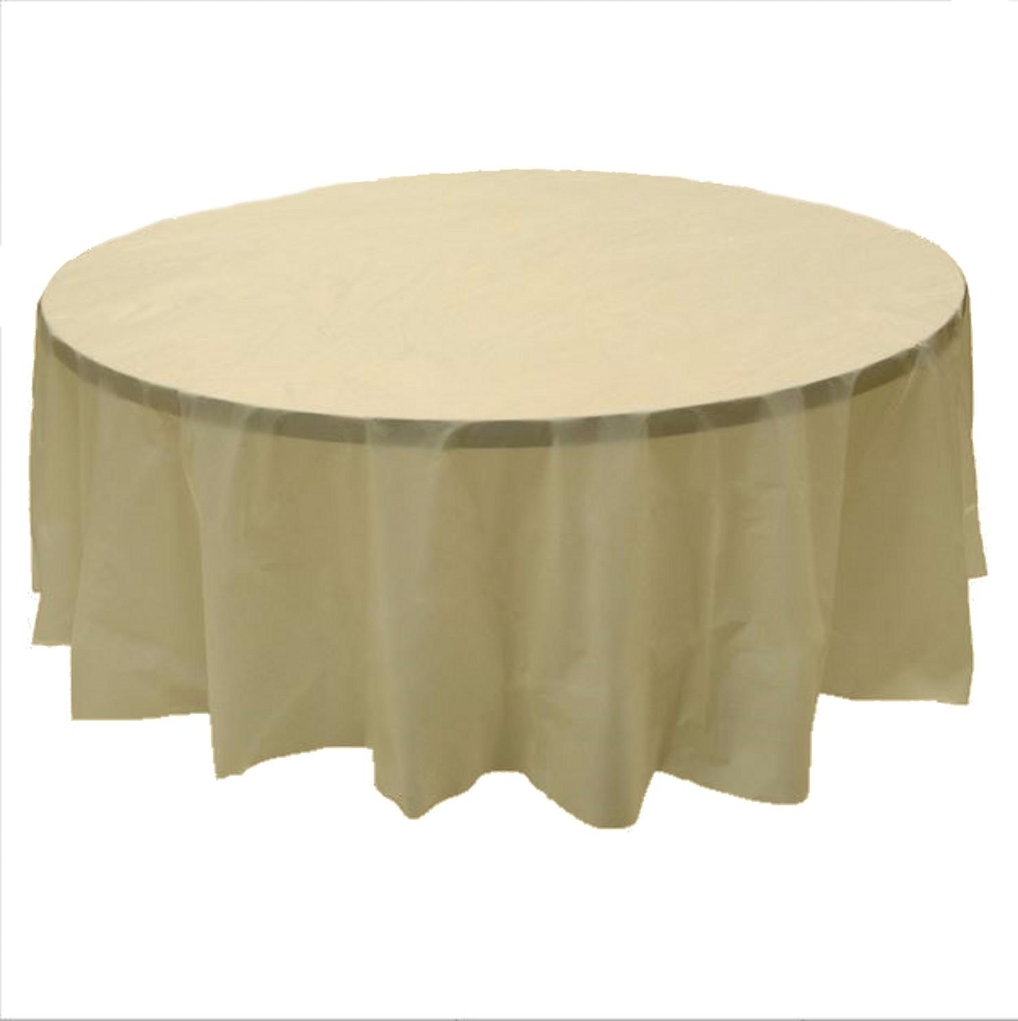 Beige Plastic Round Tablecloths Diameter Table Cover