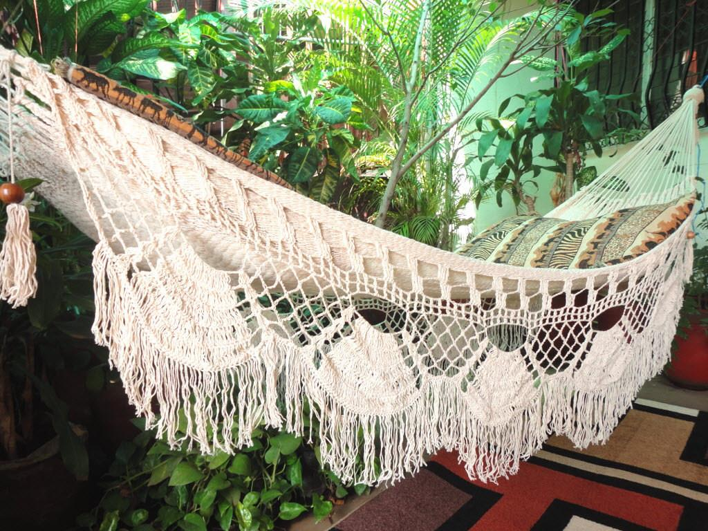 Beige Single Boho Style Hammock Hand Woven Natural Cotton