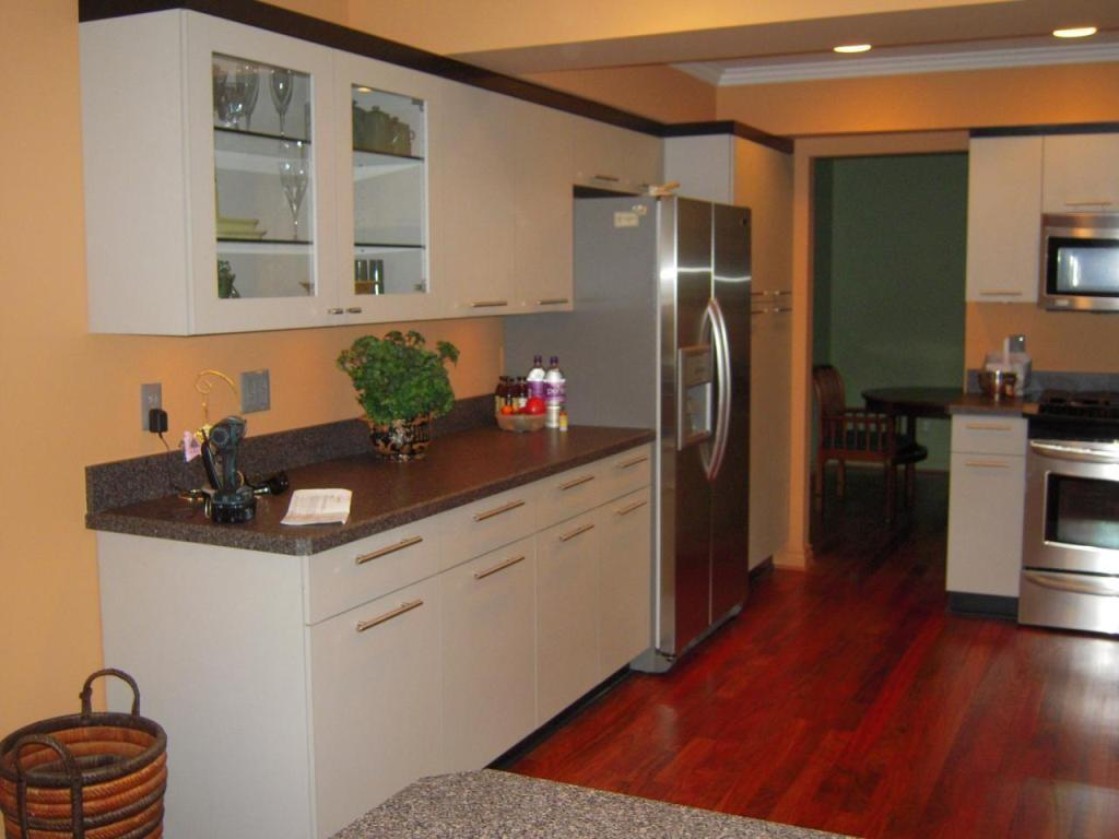 Beige Wall Color White Cabinet Small Kitchen