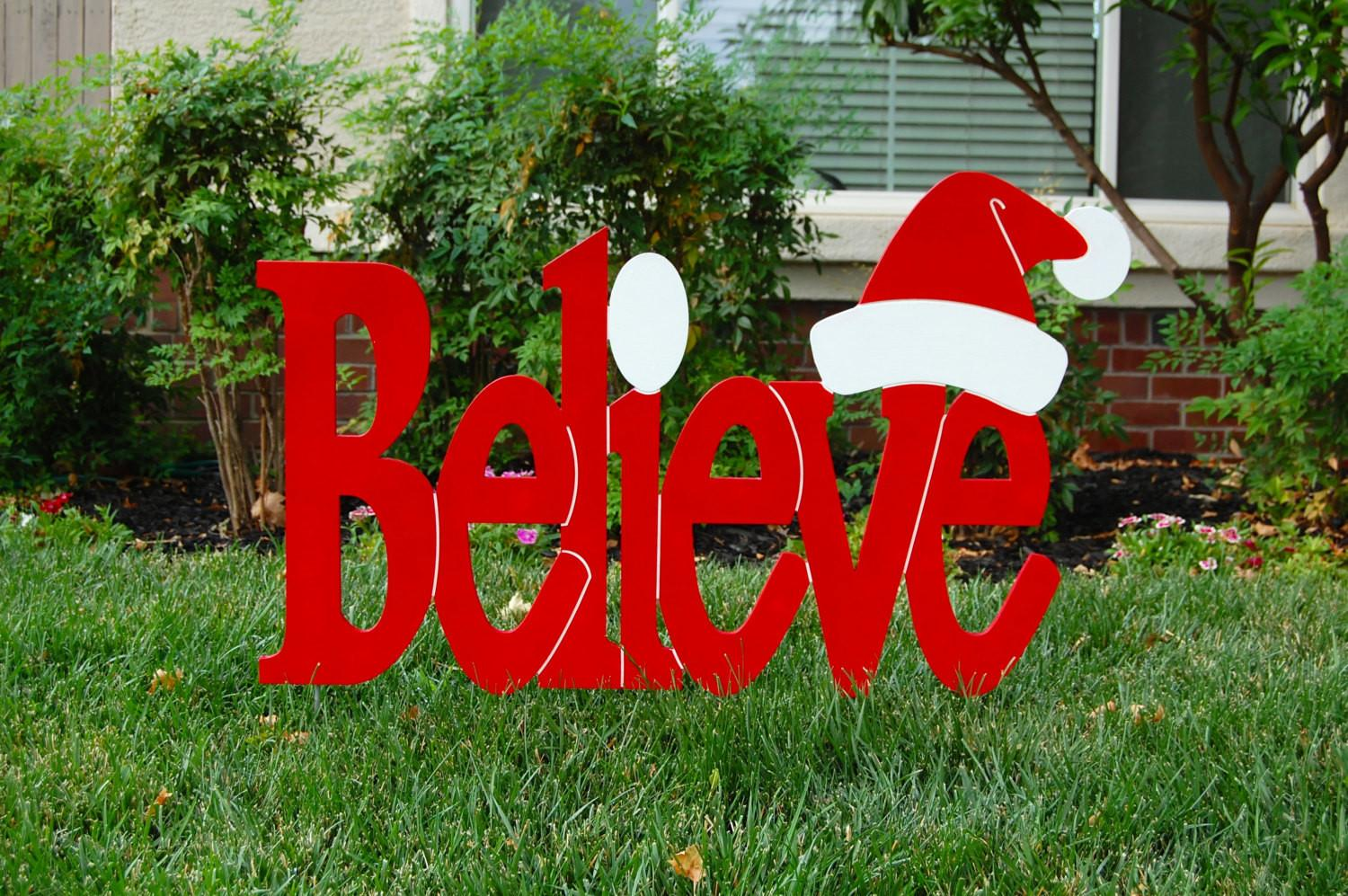 Believe Santa Red Outdoor Christmas Holiday Wood Lawn