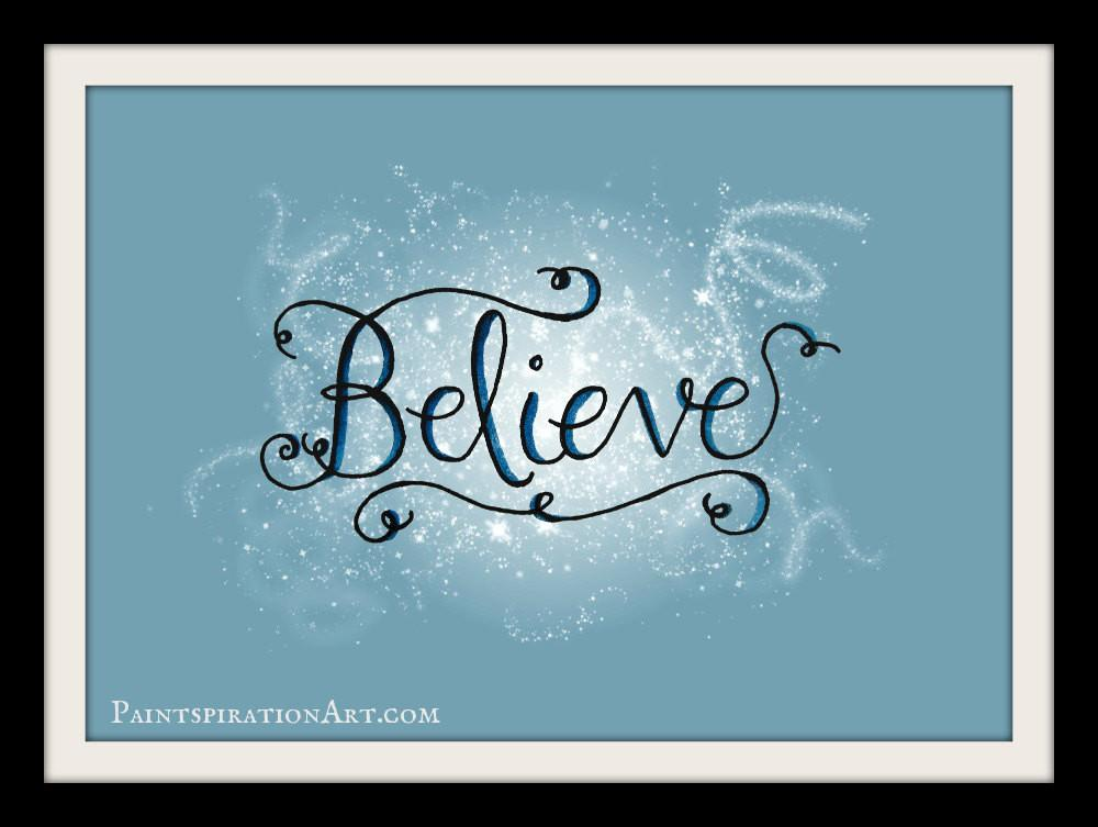 Believe Wall Art Christmas Prints Quotes Holiday Decor
