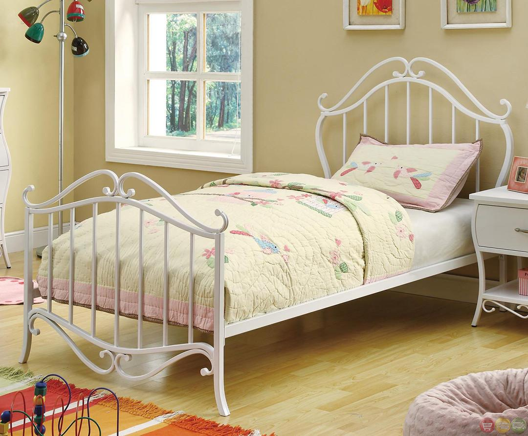 Bella Fairy Tale Design White Scroll Twin Youth Bed Set