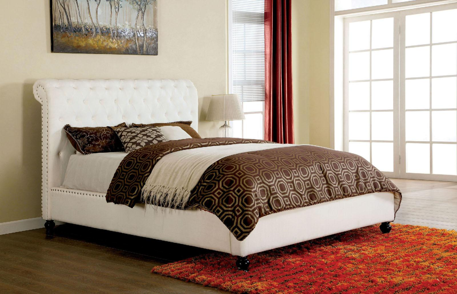 Bennett Transitional Style White Fabric Button Tufted