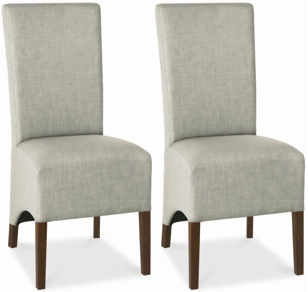 Bentley Designs Nina Walnut Dining Chair Linen Wing Back